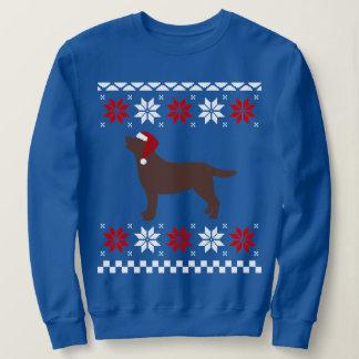 Chocolate Labrador Silhouette Santa Christmas Sweatshirt