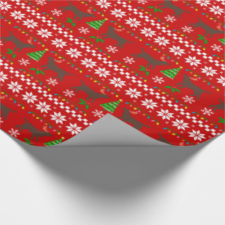 Chocolate Labrador Ugly Christmas Pattern Wrapping Paper