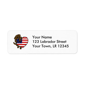 Chocolate Labrador & US Flag Heart 2 Cartoon