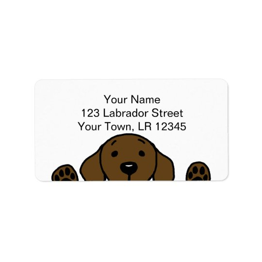 Chocolate Labrador watching you Label