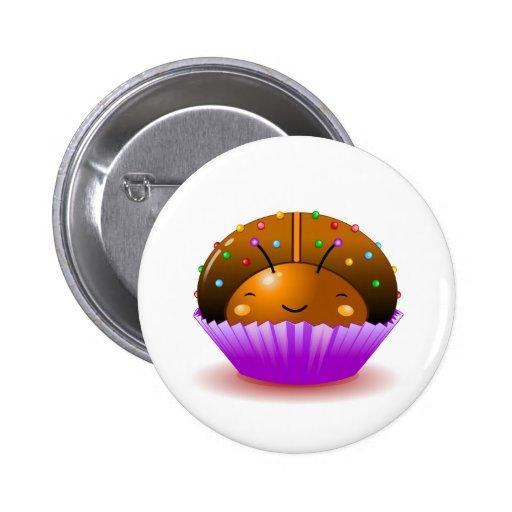 Chocolate Ladybug Cupcake Button