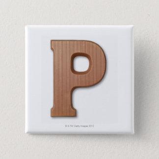 Chocolate letter p 2 inch square button