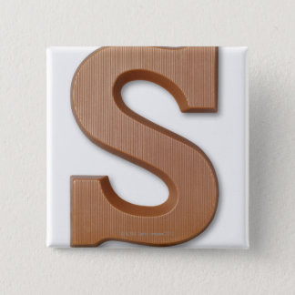 Chocolate letter s 2 inch square button