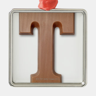 Chocolate letter t Silver-Colored square ornament