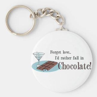 Chocolate Lover Basic Round Button Keychain