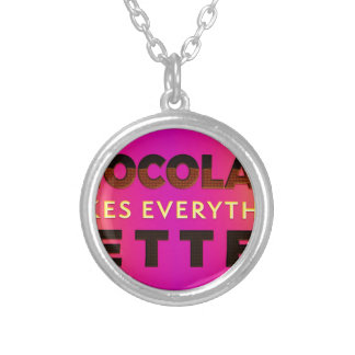 Chocolate makes everything better silver plated necklace