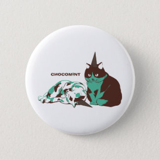 Chocolate mint _cat 2 inch round button