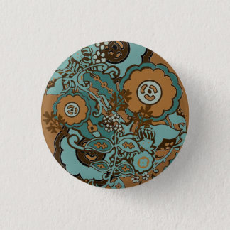 Chocolate Mint Paisley 1 Inch Round Button