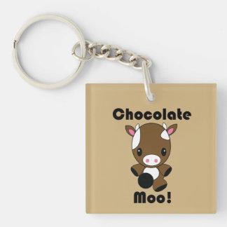 Chocolate Moo Kawaii Cow Single-Sided Square Acrylic Keychain