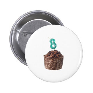 Chocolate muffin with candle for eight year old 2 inch round button