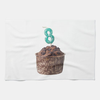 Chocolate muffin with candle for eight year old kitchen towel