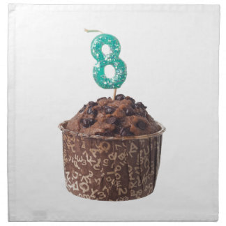 Chocolate muffin with candle for eight year old napkin