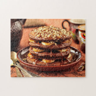 Chocolate Pancakes with Bananas and Caramel Puzzles