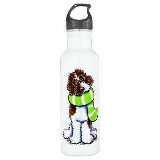 Chocolate Parti Labradoodle Winter Scarf 710 Ml Water Bottle
