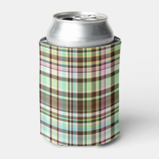 Chocolate Pastels Plaid 1-INSULATED CAN COOLER