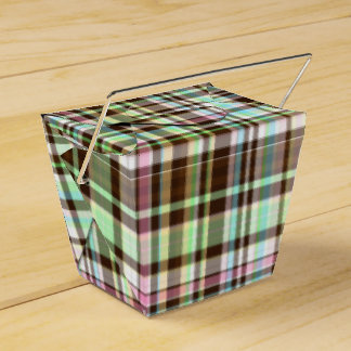 Chocolate Pastels Plaid 1-PARTY FAVOR BOX,take out Party Favor Boxes