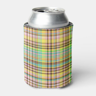 Chocolate Pastels Plaid 2-INSULATED CAN COOLER