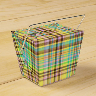 Chocolate Pastels Plaid 2-PARTY FAVOR BOX,take out Wedding Favor Boxes