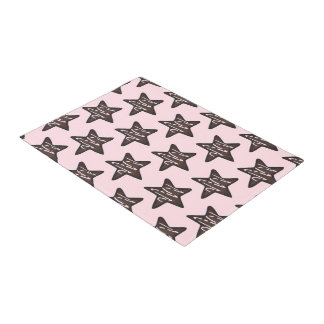 Chocolate Peppermint Star Pink Christmas Cookie Doormat