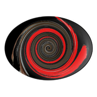 Chocolate Peppermint Swirl Porcelain Serving Platter
