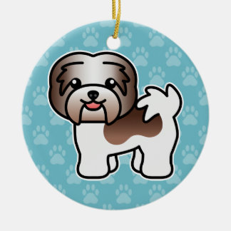 Chocolate Piebald Cartoon Havanese Dog Round Ceramic Ornament