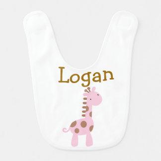 Chocolate & Pink Baby Giraffe Bib Baby Bibs