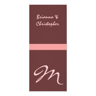 "Chocolate Pink Monogram Initial Wedding Invitation 4"" X 9.25"" Invitation Card"