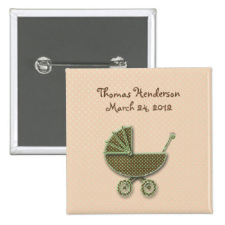 chocolate & pistachio buggy 2 inch square button
