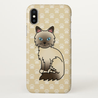 Chocolate Point Birman / Ragdoll Cat Drawing iPhone X Case