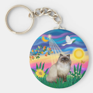 Chocolate Point Himalayan Cat  - Twilight Basic Round Button Keychain