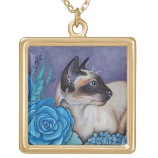 Chocolate Point Siamese Cat Gold Plated Necklace