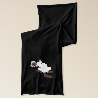 Chocolate point Siamese cat lying on back Scarf