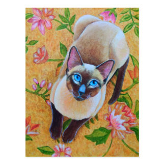 Chocolate Point Siamese Cat on Floral Rug Postcard