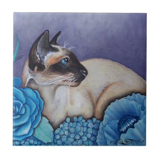 Chocolate Point Siamese Cat Tile