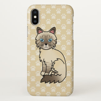 Chocolate Point Tabby Birman / Ragdoll Cat Drawing iPhone X Case