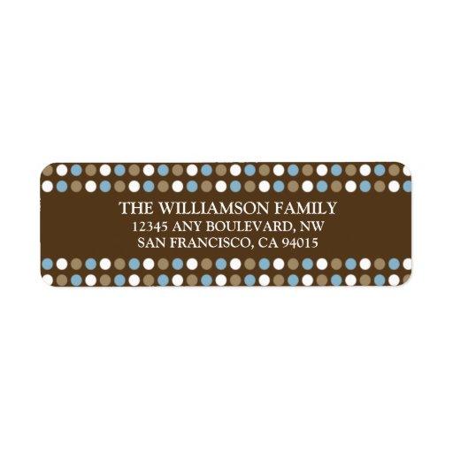 Chocolate Polkadots Return Address Labels (blue)