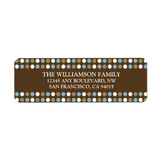 Chocolate Polkadots Return Address Labels blue