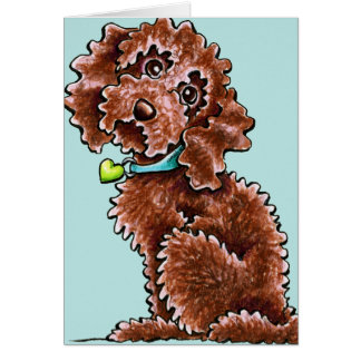 Chocolate Poodle Mix Side Sit Card