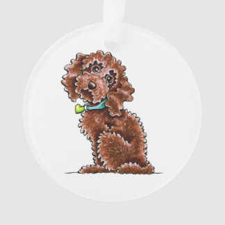Chocolate Poodle Mix Side Sit Ornament