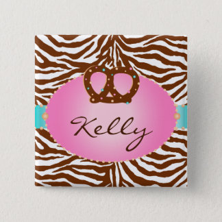 Chocolate Pretzel Bakery Zebra Name Tag Button