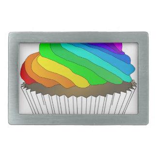 Chocolate Rainbow Cupcake Rectangular Belt Buckles