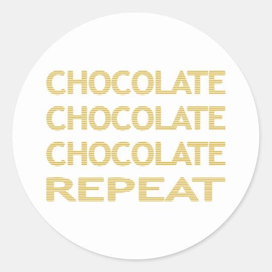 Chocolate repeat - strips - beige. classic round sticker