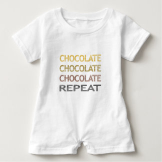 Chocolate repeat - strips - brown and beige. baby romper