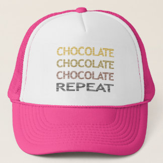 Chocolate repeat - strips - brown and beige. trucker hat