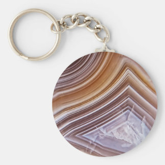 Chocolate Ribbons Agate Keychain