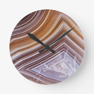 Chocolate Ribbons Agate Round Clock