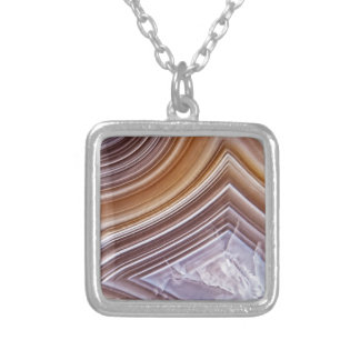 Chocolate Ribbons Agate Silver Plated Necklace