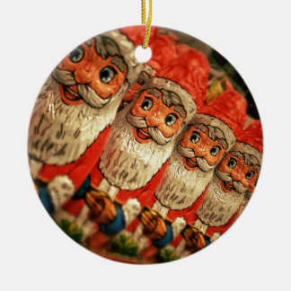 Chocolate Santas in a row, candy Ceramic Ornament