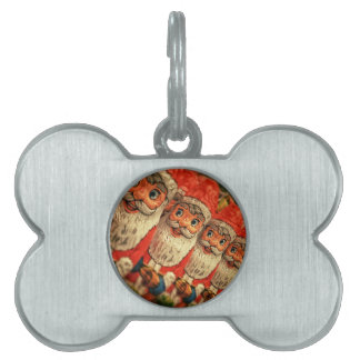 Chocolate Santas in a row, candy Pet Tag