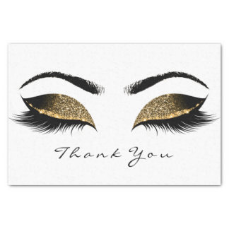 Chocolate Sepia Gold Glitter Thank You Eyes Lashes Tissue Paper
